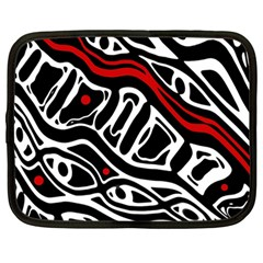 Red, black and white abstract art Netbook Case (Large)