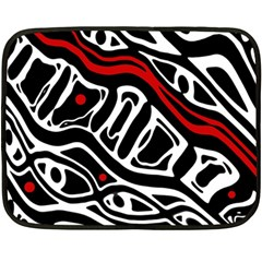 Red, black and white abstract art Double Sided Fleece Blanket (Mini)