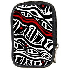 Red, black and white abstract art Compact Camera Cases