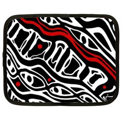 Red, black and white abstract art Netbook Case (XXL)