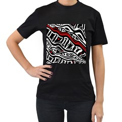 Red, black and white abstract art Women s T-Shirt (Black)