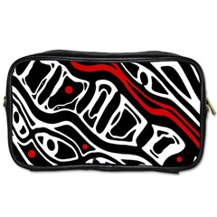 Red, black and white abstract art Toiletries Bags