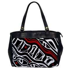 Red, black and white abstract art Office Handbags