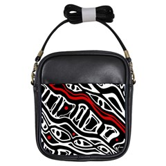 Red, black and white abstract art Girls Sling Bags