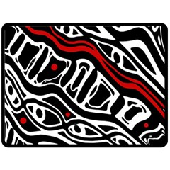 Red, black and white abstract art Fleece Blanket (Large)