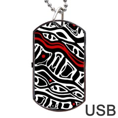 Red, black and white abstract art Dog Tag USB Flash (Two Sides)