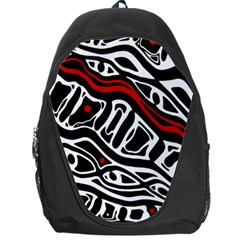 Red, black and white abstract art Backpack Bag