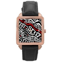 Red, black and white abstract art Rose Gold Leather Watch