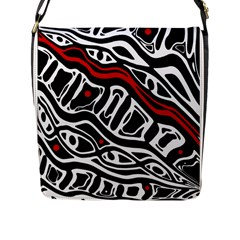 Red, black and white abstract art Flap Messenger Bag (L)