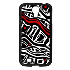 Red, black and white abstract art Samsung Galaxy S4 I9500/ I9505 Case (Black)