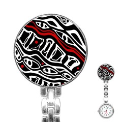 Red, black and white abstract art Stainless Steel Nurses Watch