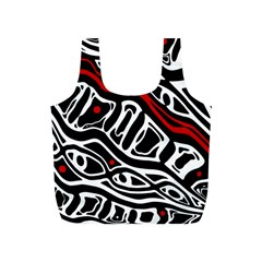 Red, black and white abstract art Full Print Recycle Bags (S)