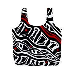 Red, black and white abstract art Full Print Recycle Bags (M)