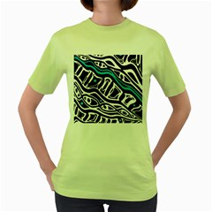 Blue, black and white abstract art Women s Green T-Shirt