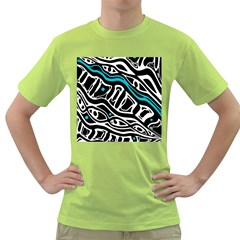 Blue, black and white abstract art Green T-Shirt
