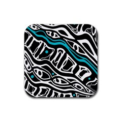 Blue, black and white abstract art Rubber Square Coaster (4 pack)