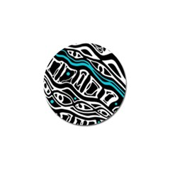 Blue, black and white abstract art Golf Ball Marker (4 pack)