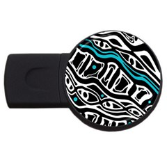 Blue, black and white abstract art USB Flash Drive Round (1 GB)