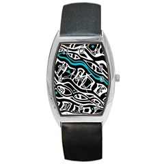 Blue, black and white abstract art Barrel Style Metal Watch