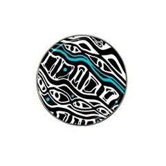 Blue, black and white abstract art Hat Clip Ball Marker (4 pack)