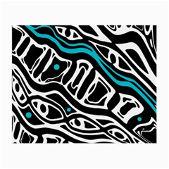 Blue, black and white abstract art Small Glasses Cloth