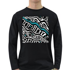 Blue, black and white abstract art Long Sleeve Dark T-Shirts