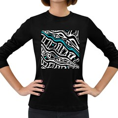 Blue, black and white abstract art Women s Long Sleeve Dark T-Shirts