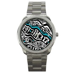 Blue, black and white abstract art Sport Metal Watch