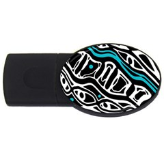 Blue, black and white abstract art USB Flash Drive Oval (4 GB)