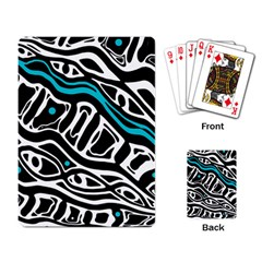 Blue, black and white abstract art Playing Card