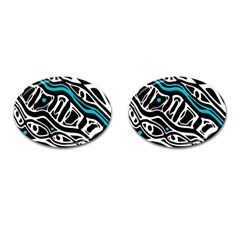 Blue, black and white abstract art Cufflinks (Oval)