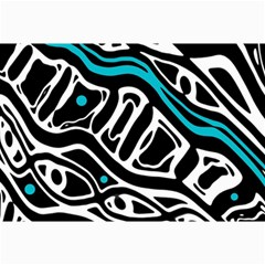 Blue, black and white abstract art Collage Prints
