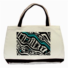 Blue, black and white abstract art Basic Tote Bag