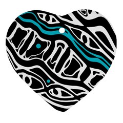 Blue, black and white abstract art Heart Ornament (2 Sides)