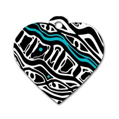 Blue, black and white abstract art Dog Tag Heart (One Side)