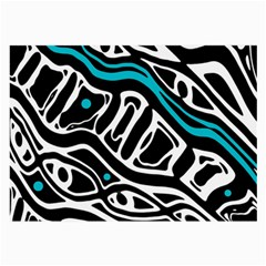 Blue, black and white abstract art Large Glasses Cloth (2-Side)