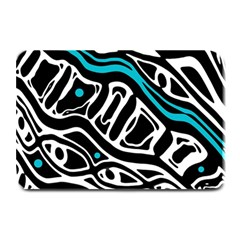 Blue, black and white abstract art Plate Mats