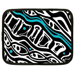 Blue, black and white abstract art Netbook Case (Large)