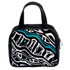Blue, black and white abstract art Classic Handbags (2 Sides)