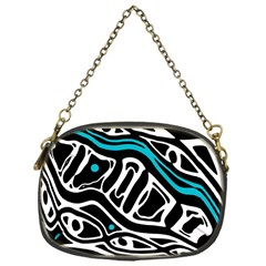 Blue, black and white abstract art Chain Purses (One Side)