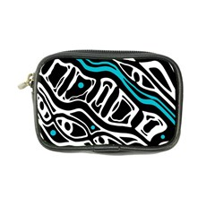 Blue, black and white abstract art Coin Purse