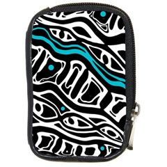 Blue, black and white abstract art Compact Camera Cases