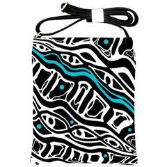 Blue, black and white abstract art Shoulder Sling Bags