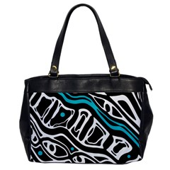 Blue, black and white abstract art Office Handbags