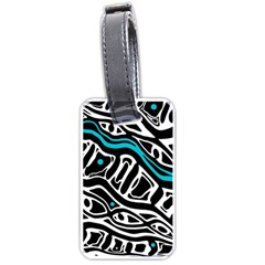 Blue, black and white abstract art Luggage Tags (One Side)
