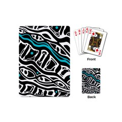 Blue, black and white abstract art Playing Cards (Mini)