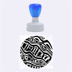 Blue, black and white abstract art Rubber Round Stamps (Medium)