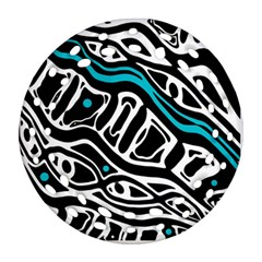 Blue, black and white abstract art Round Filigree Ornament (2Side)