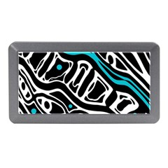 Blue, black and white abstract art Memory Card Reader (Mini)
