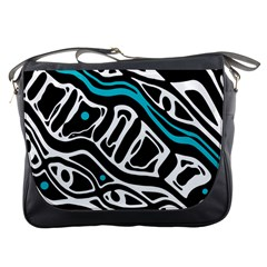 Blue, black and white abstract art Messenger Bags
